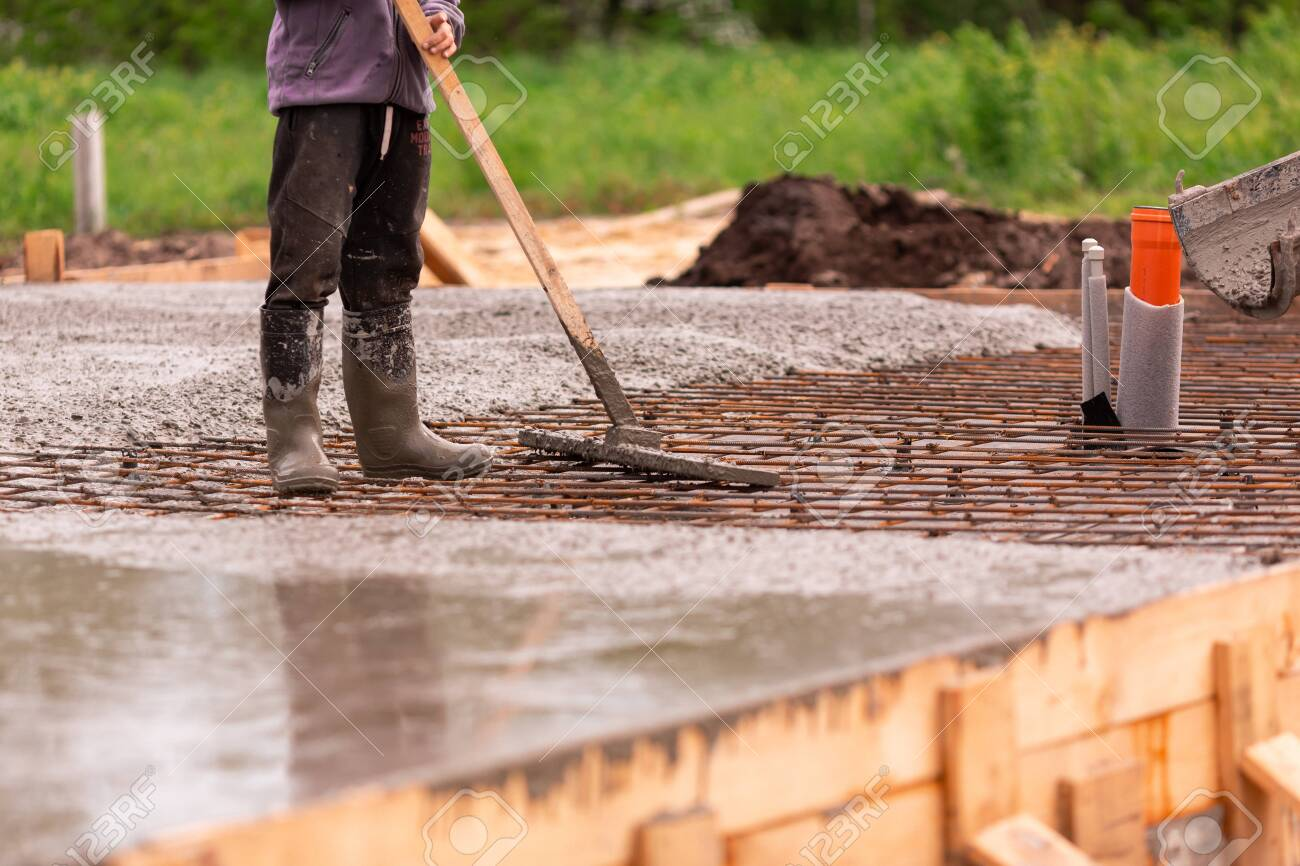 Leveling Of The Cement Or Concrete Of The Foundation Formwork Stock Photo Picture And Royalty Free Image Image 148806120