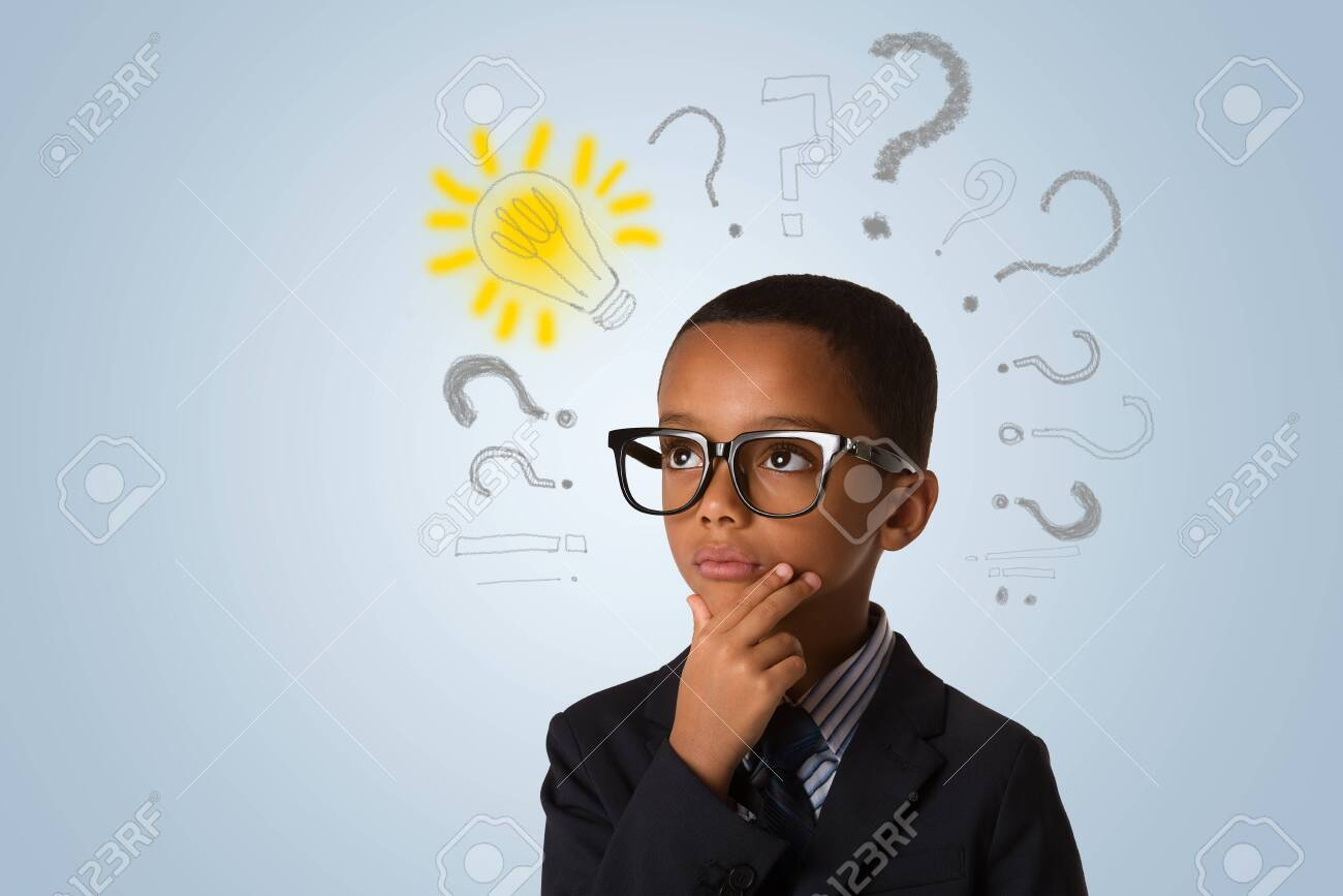 Adorable african little boy wearing glasses and thinking with many question marks and lightbulb. Concept of ideas - 147238801