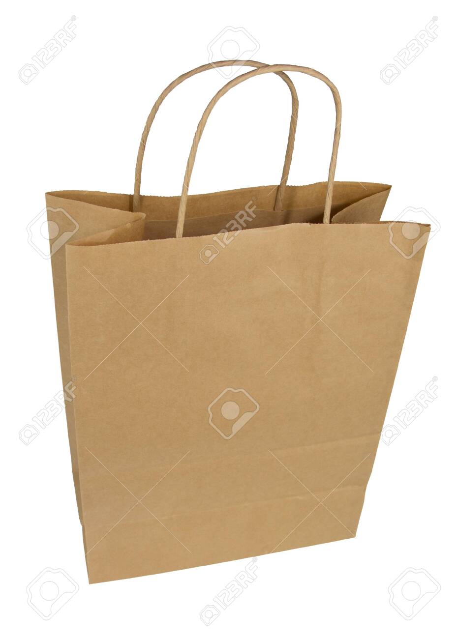 Paper bag on a white background. Package Isolate. Disposable paper bag - 135629805