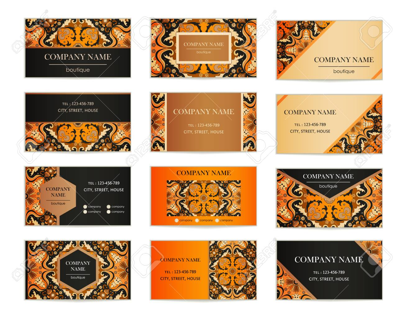 Set of business cards template of cover design color pattern set of business cards template of cover design color pattern colored vector illustration for reheart Image collections