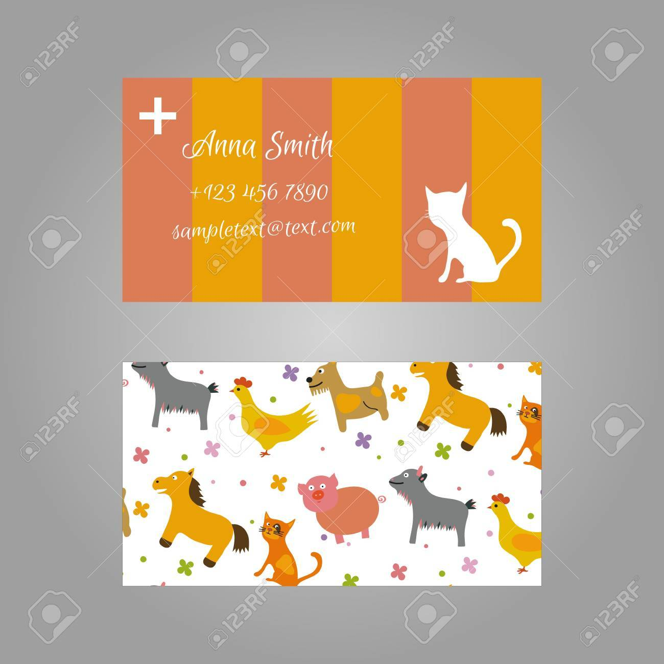 Cute Business Card For Vet Royalty Free Cliparts, Vectors, And Stock ...