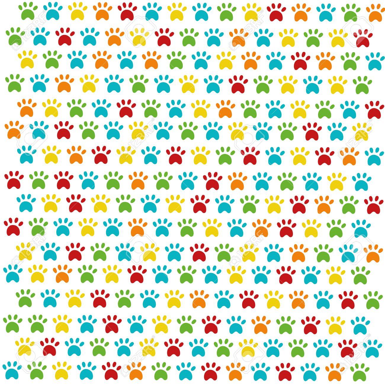 El patrón de las huellas de gatos de colores sobre fondo blanco Foto de archivo ,