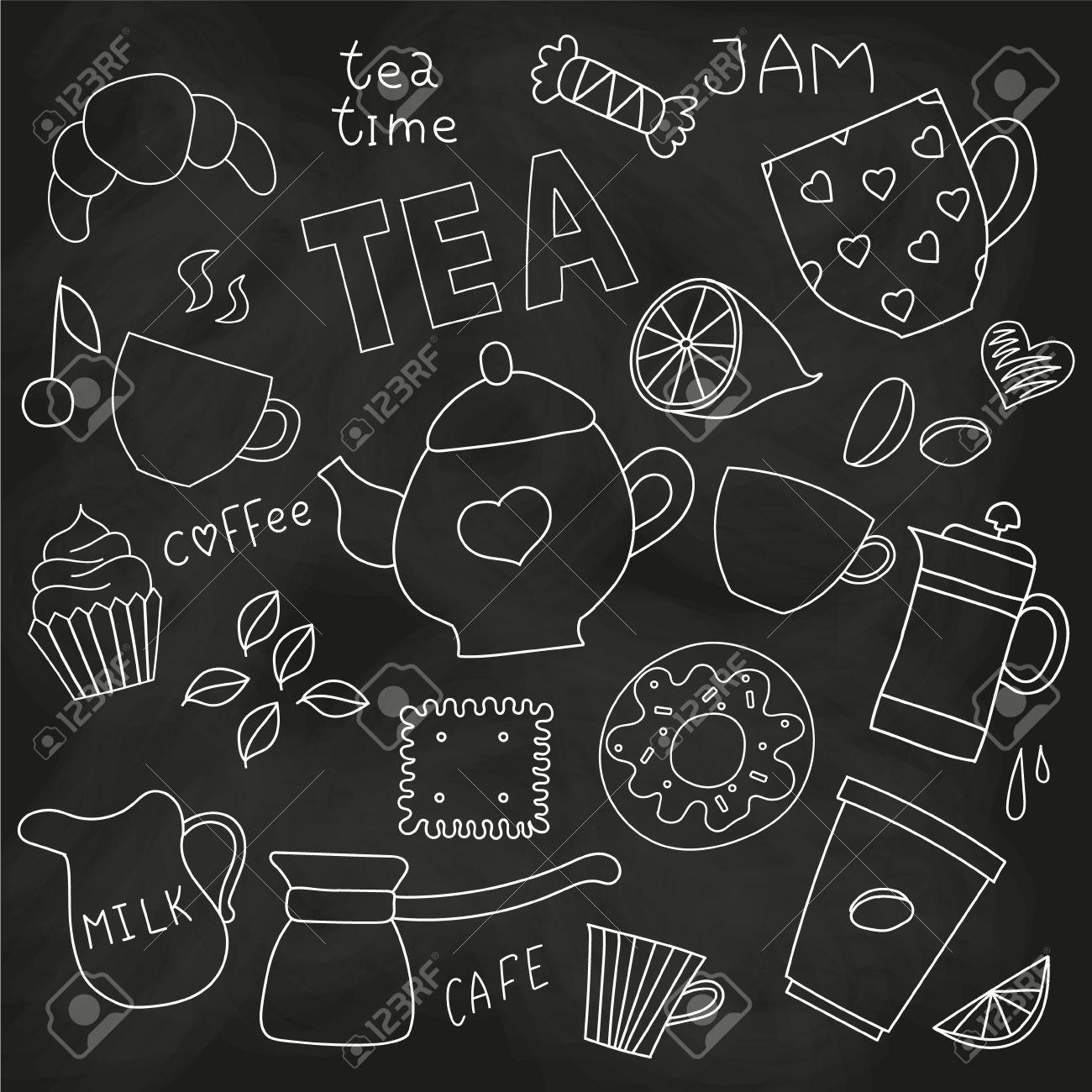 Doodle Für Tee-Party Tee Und Kaffee-Tassen Und Süßigkeiten Und ...