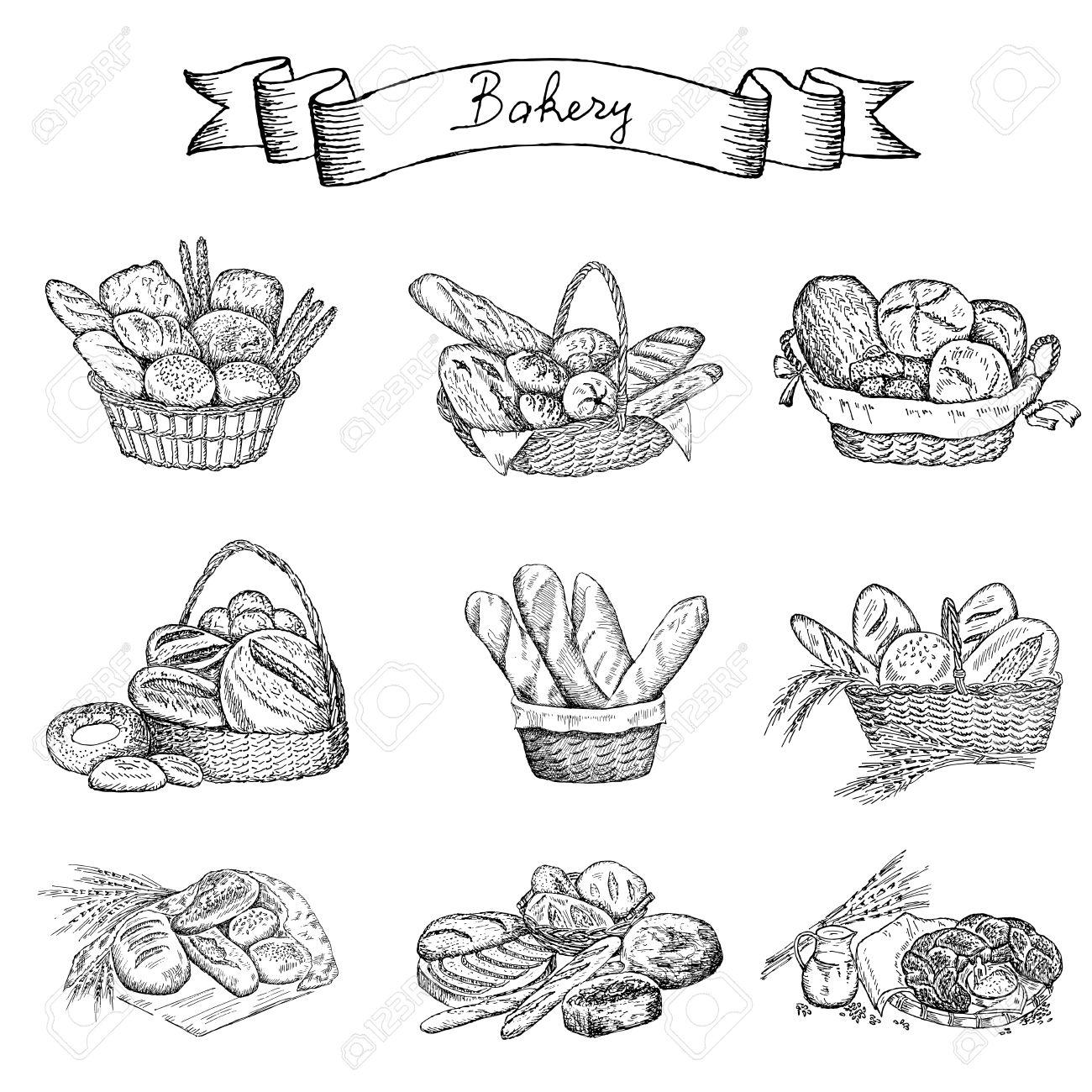 Dessin Boulangerie boulangerie dessin à la main ensemble de dessins vectoriels clip art