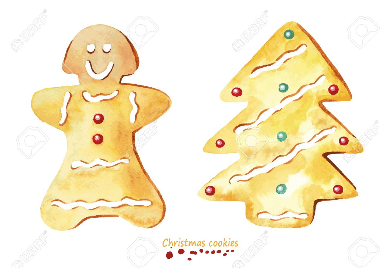 Watercolor Christmas Cookies On Plain Background