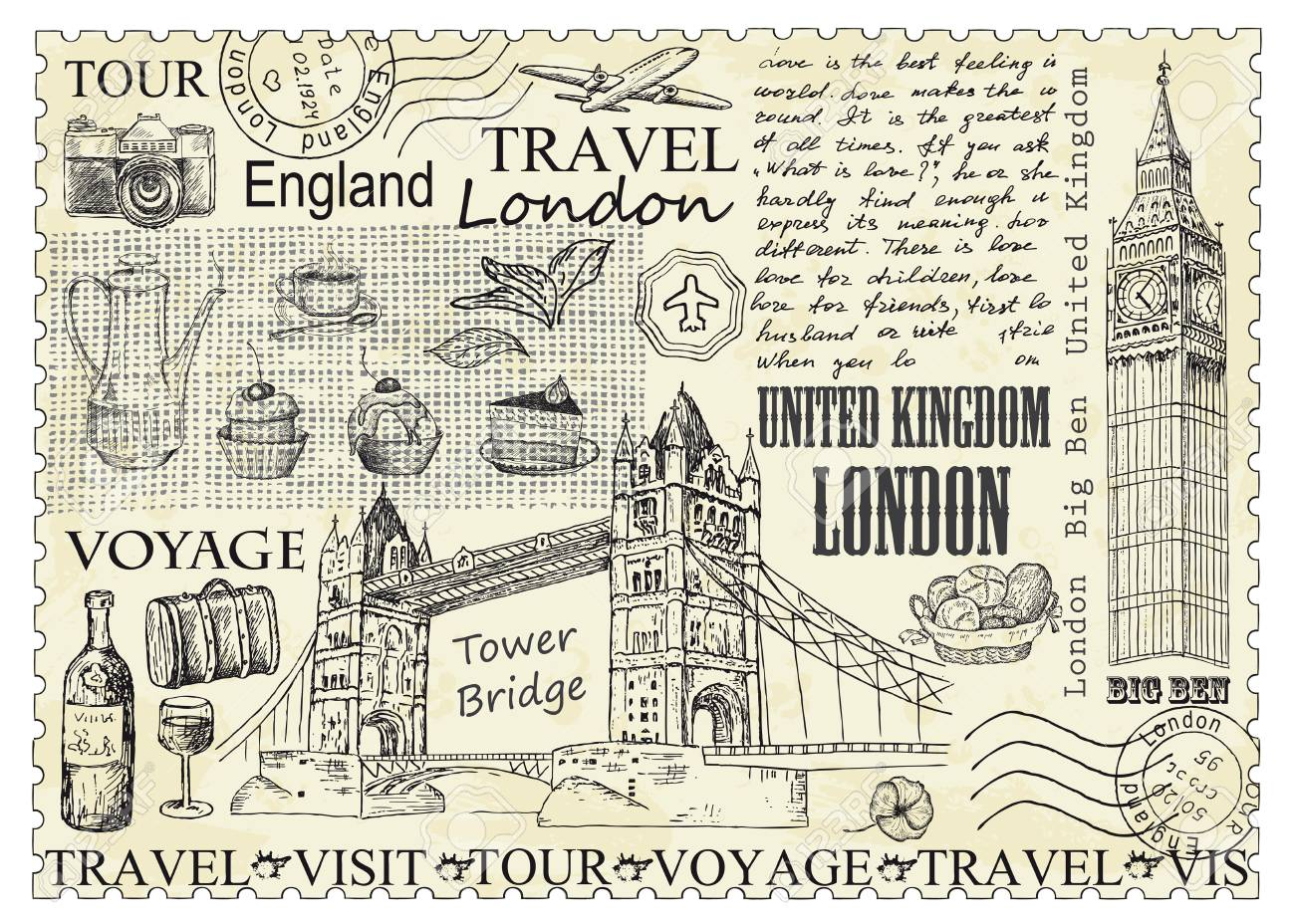 Stamp London with Big Ben and Tower Bridge. Vector illustration. Vintage design with hand drawn sketch. Line art style. - 124784234