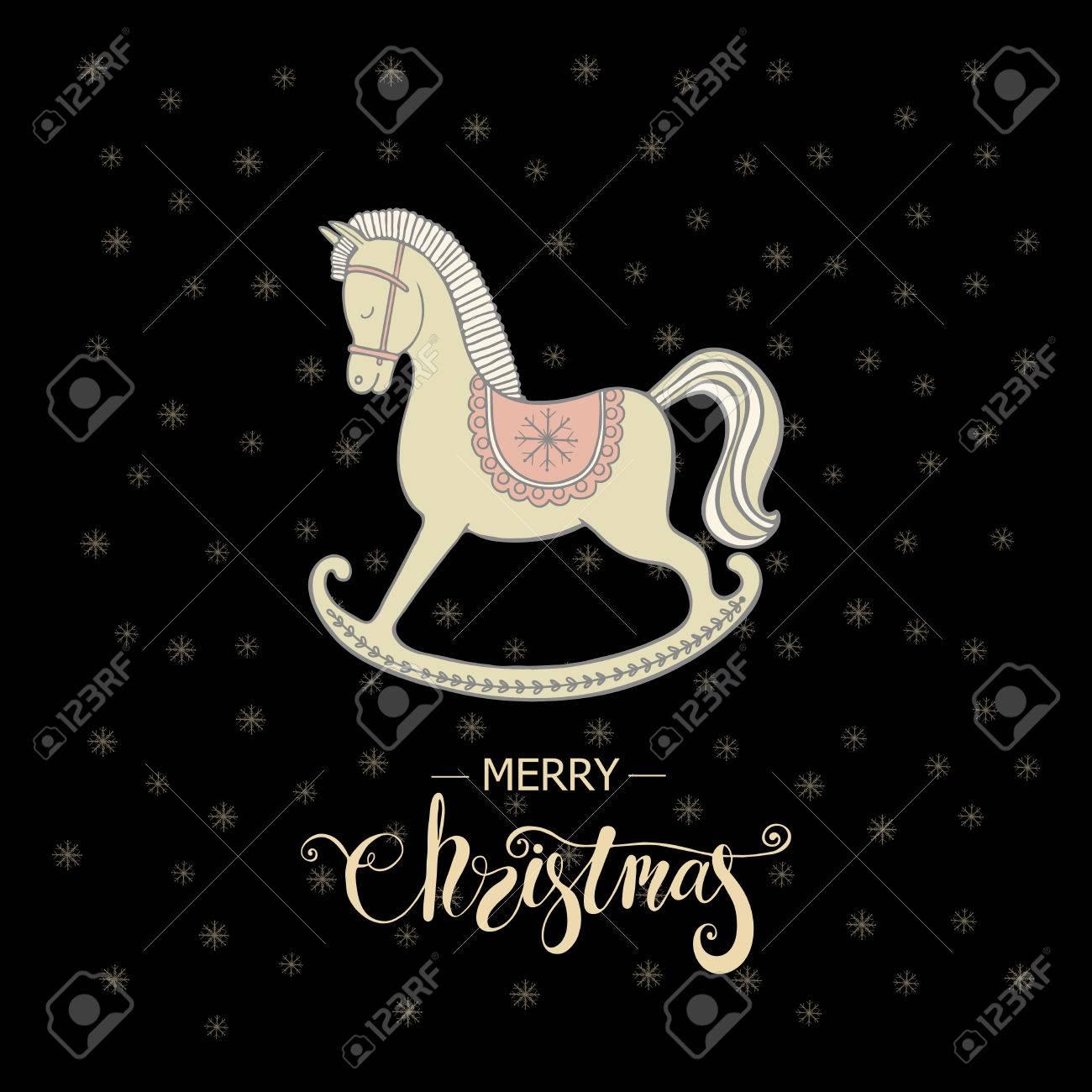Frohe Weihnachten-Grußkarte Mit Schaukelpferd Und Schriftzug Frohe ...