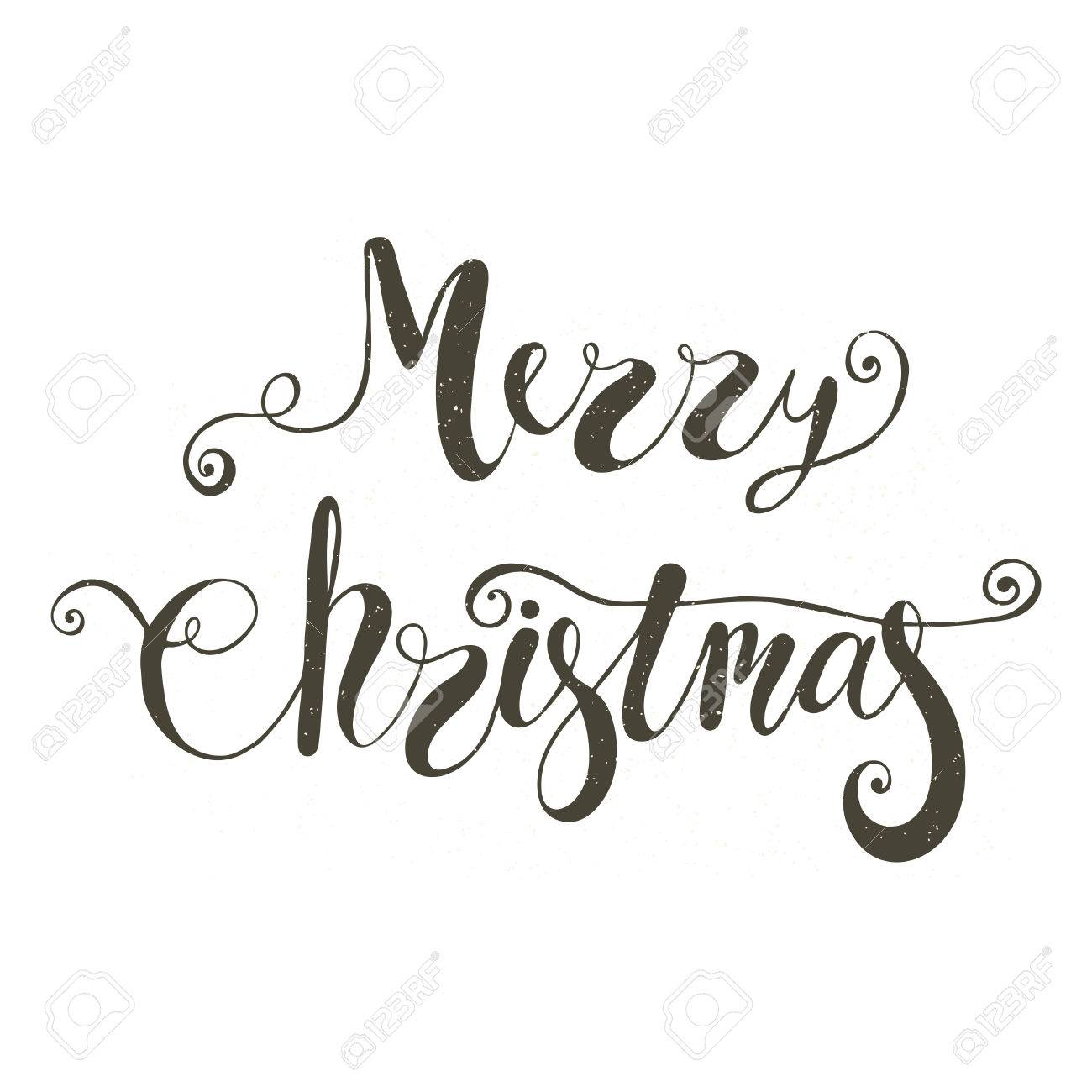 Merry Christmas Lettering In Black On White Background Royalty Free ...
