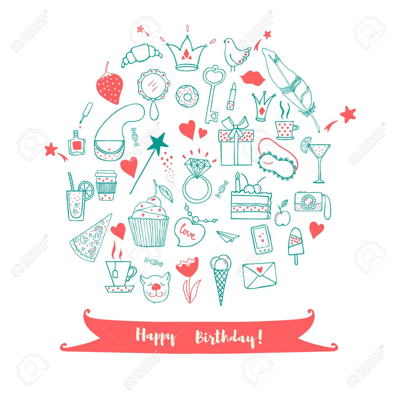 Happy birthday greeting card hand drawn doodle vector set with happy birthday greeting card hand drawn doodle vector set with presents for girl modern kristyandbryce Image collections