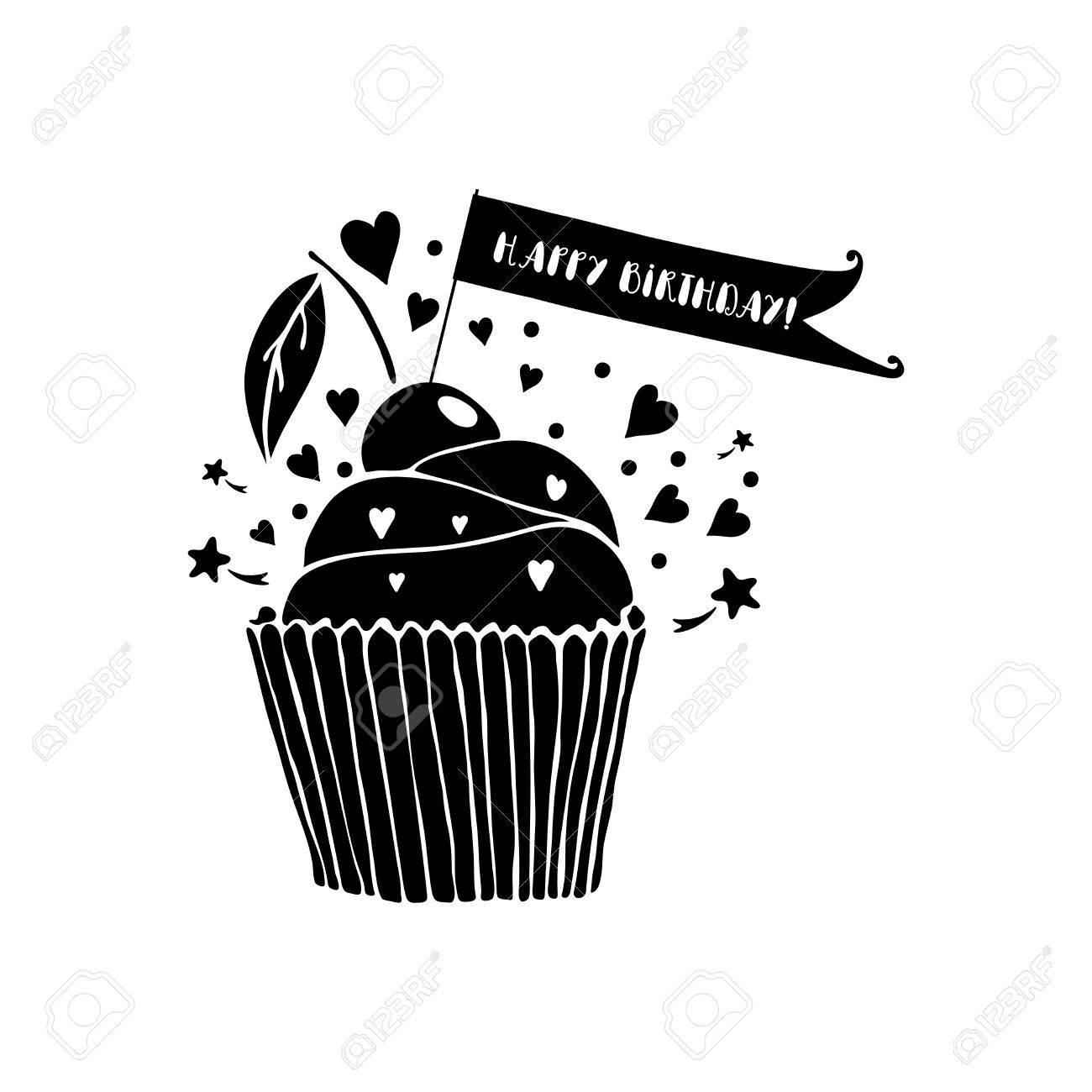 Joyeux Anniversaire Carte De Voeux Avec Le Petit Gâteau Sur Fond Blanc Noir Et Blanc Illustration Vectorielle Salutation Modèle De Carte