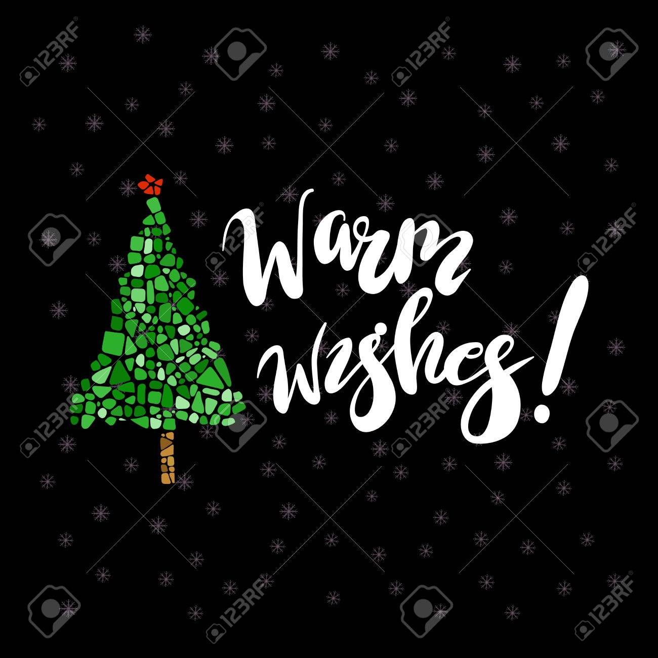 Happy new year greeting card mosaic christmas tree warm wishes happy new year greeting card mosaic christmas tree warm wishes letering design element m4hsunfo