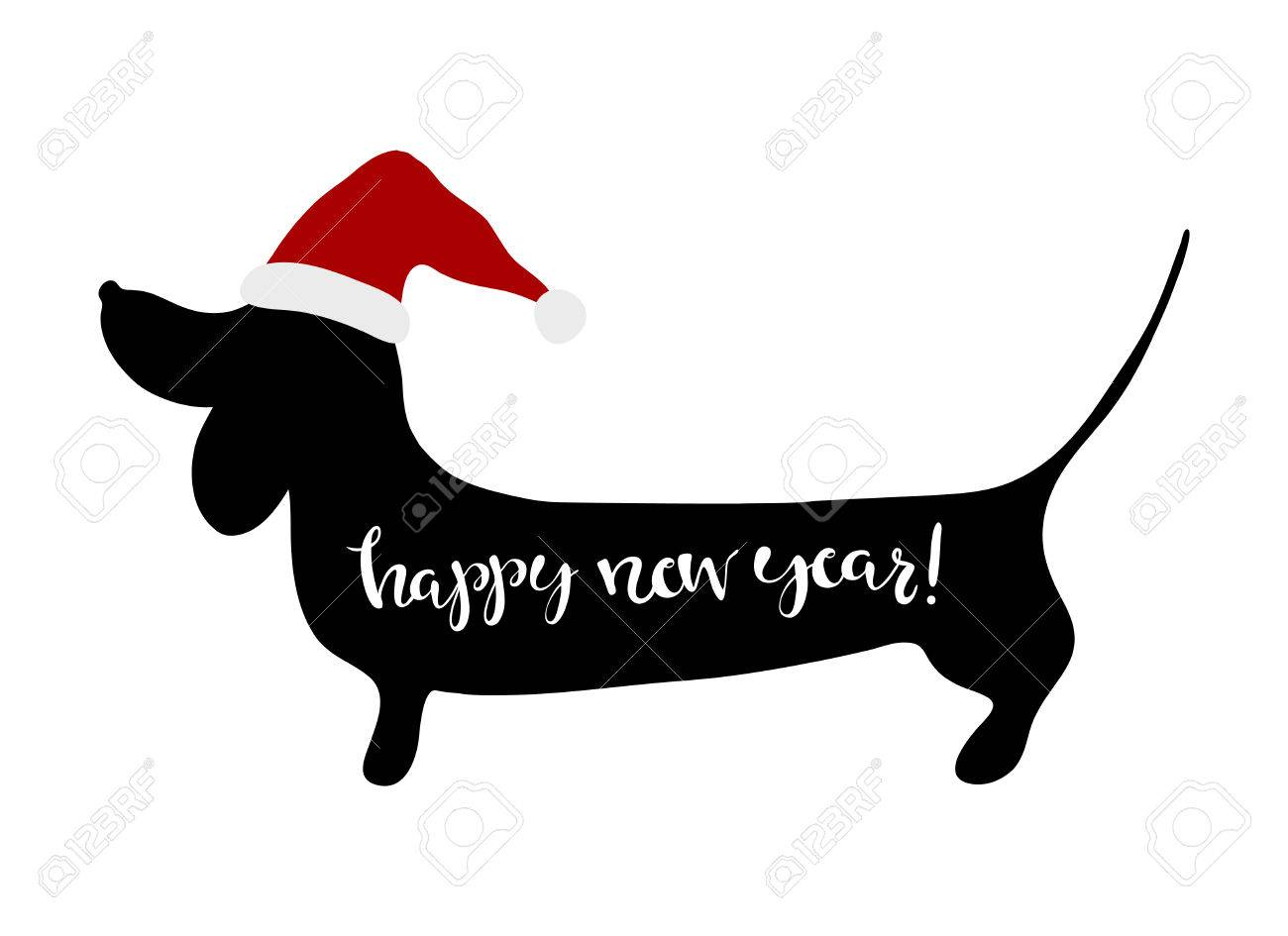 Happy New Year Greeting Card Dachshund Hand Written Lettering