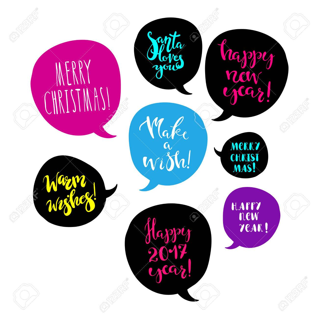 merry christmas and happy new year greetings in speech bubbles bright design element for poster