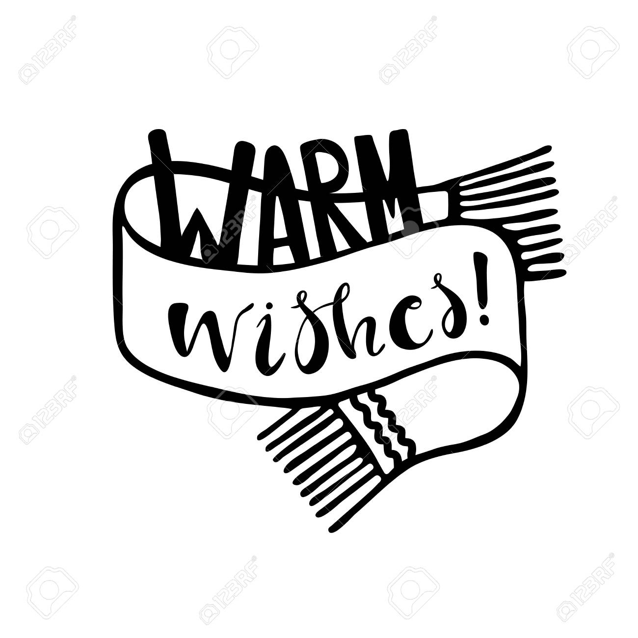 Warm Wishes Lettering. Christmas And Happy New Year Greeting ...
