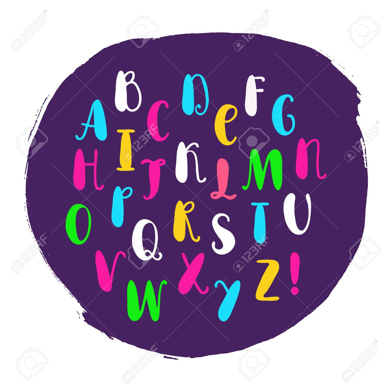 Alphabet Dessiné à La Main. Lettres Isolées Affiche ABC Pour L ...
