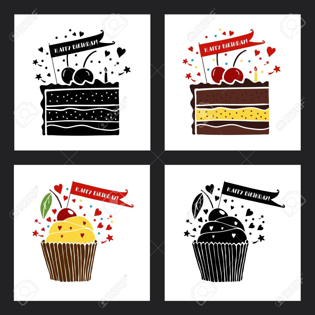Feliz Cumpleaños Tarjetas De Felicitación Establecido. Ilustraciones ...