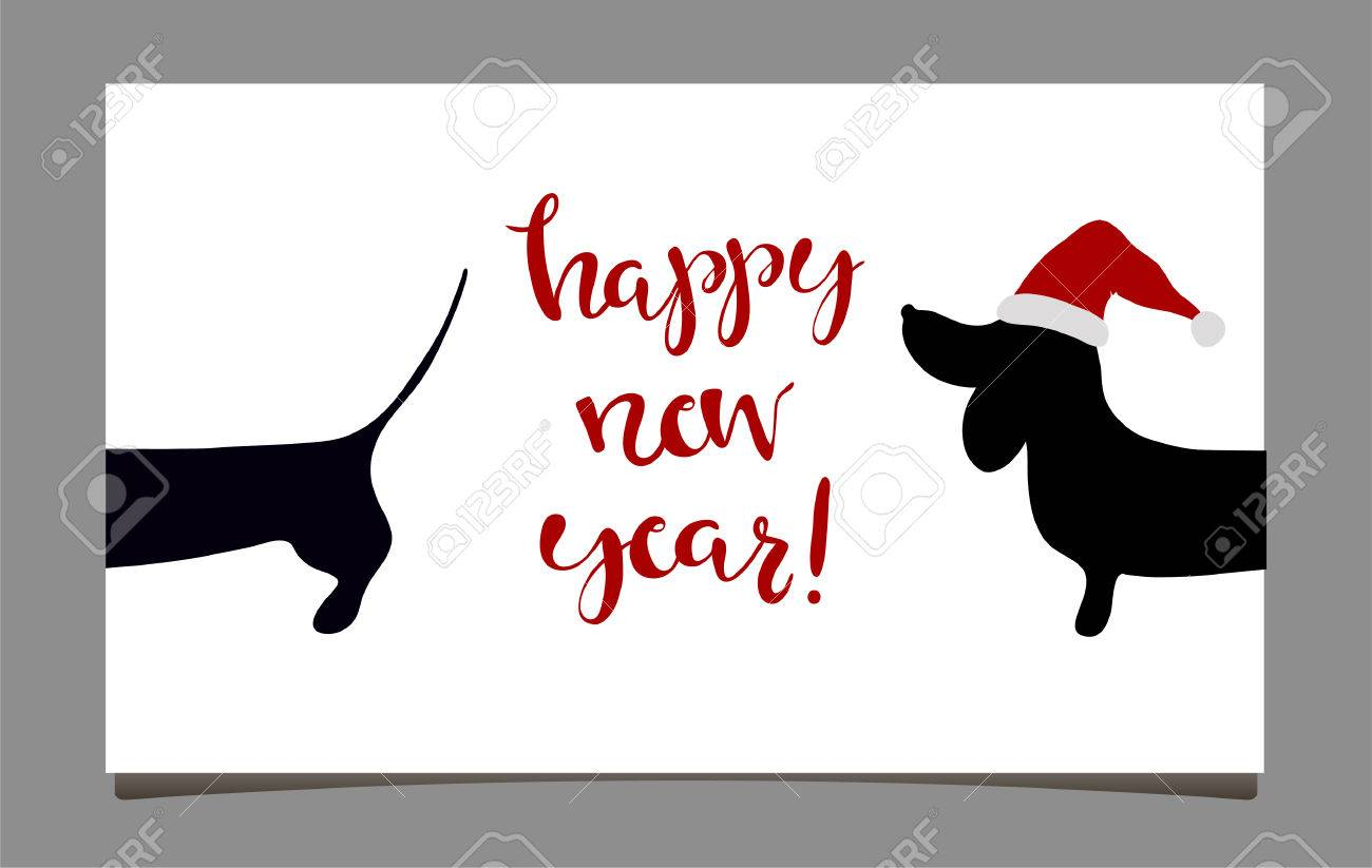 Happy New Year Greeting Cards With Dachshund. Symbol Of 2018 ...