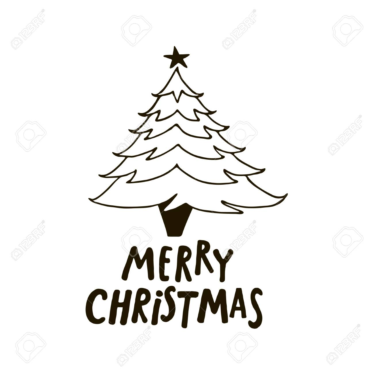 Merry Christmas Images Black And White.Merry Christmas Greeting Card With Fir Tree Black And White