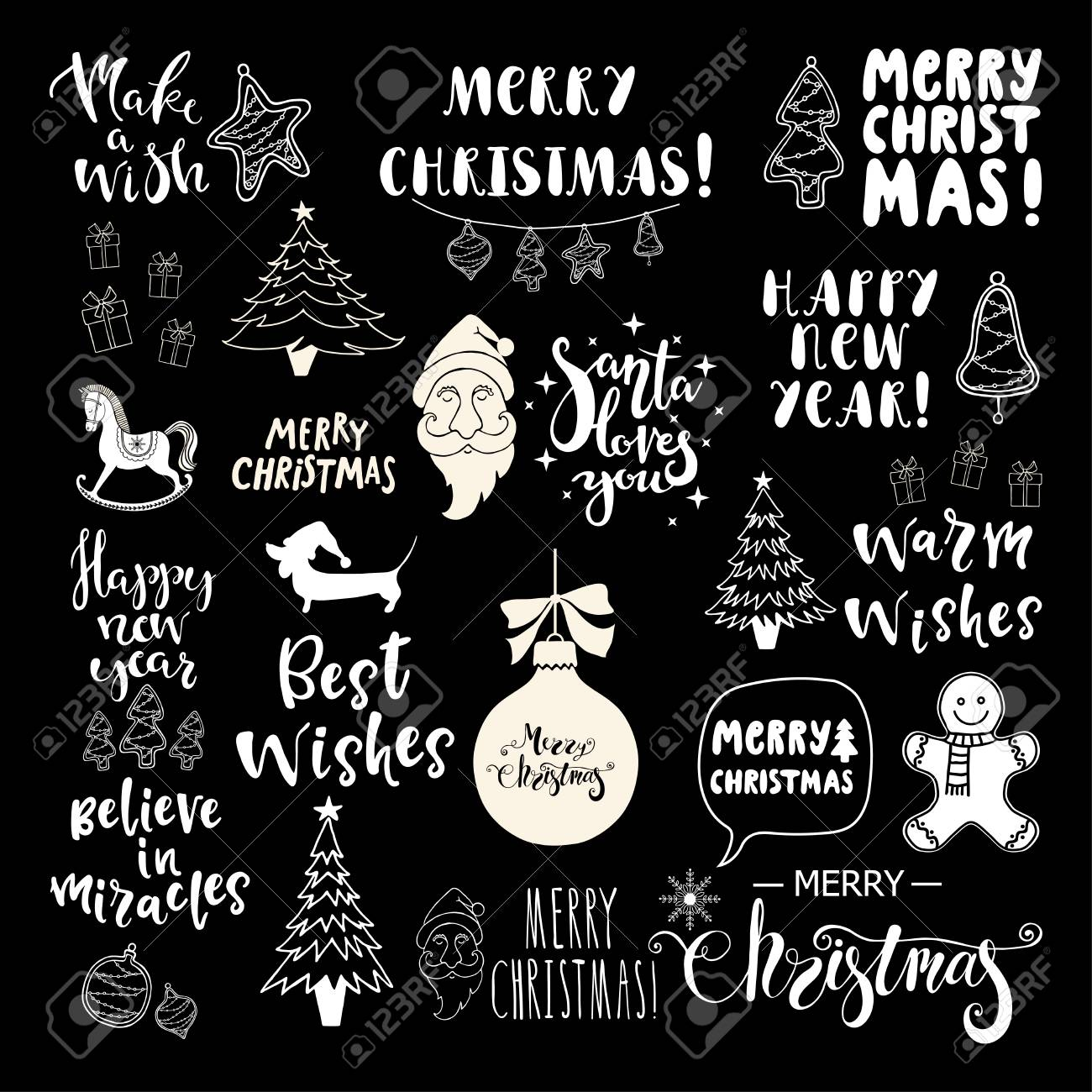Set Of Christmas And Happy New Year Lettering And Hand Drawn