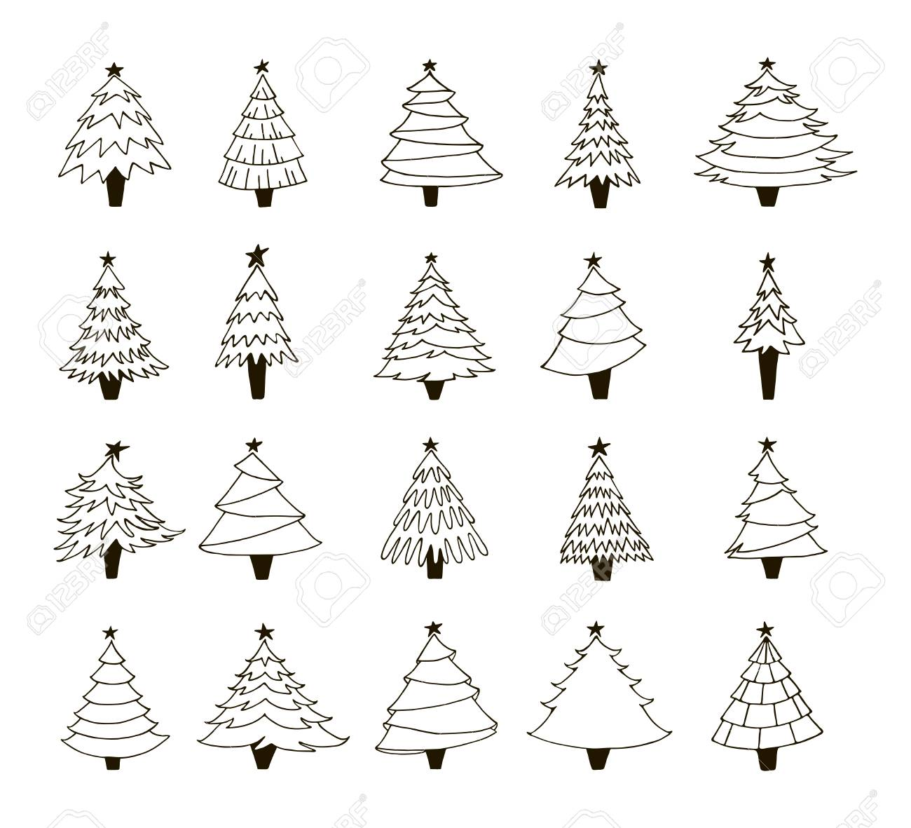 set of hand drawn christmas trees contour drawing black and