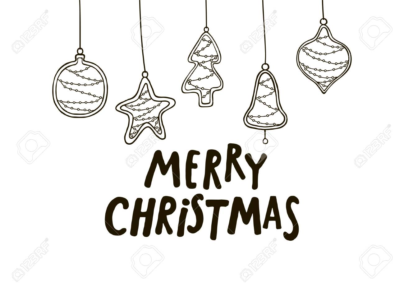 Merry Christmas Images Black And White.Merry Christmas Black And White Greeting Card With Christmas