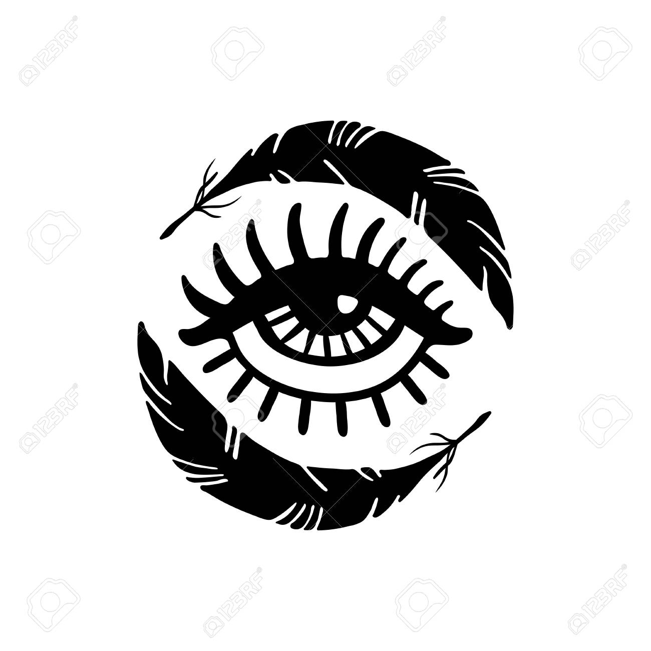 Hand Drawn Eye And Feathers T Shirt Print Royalty Free Cliparts