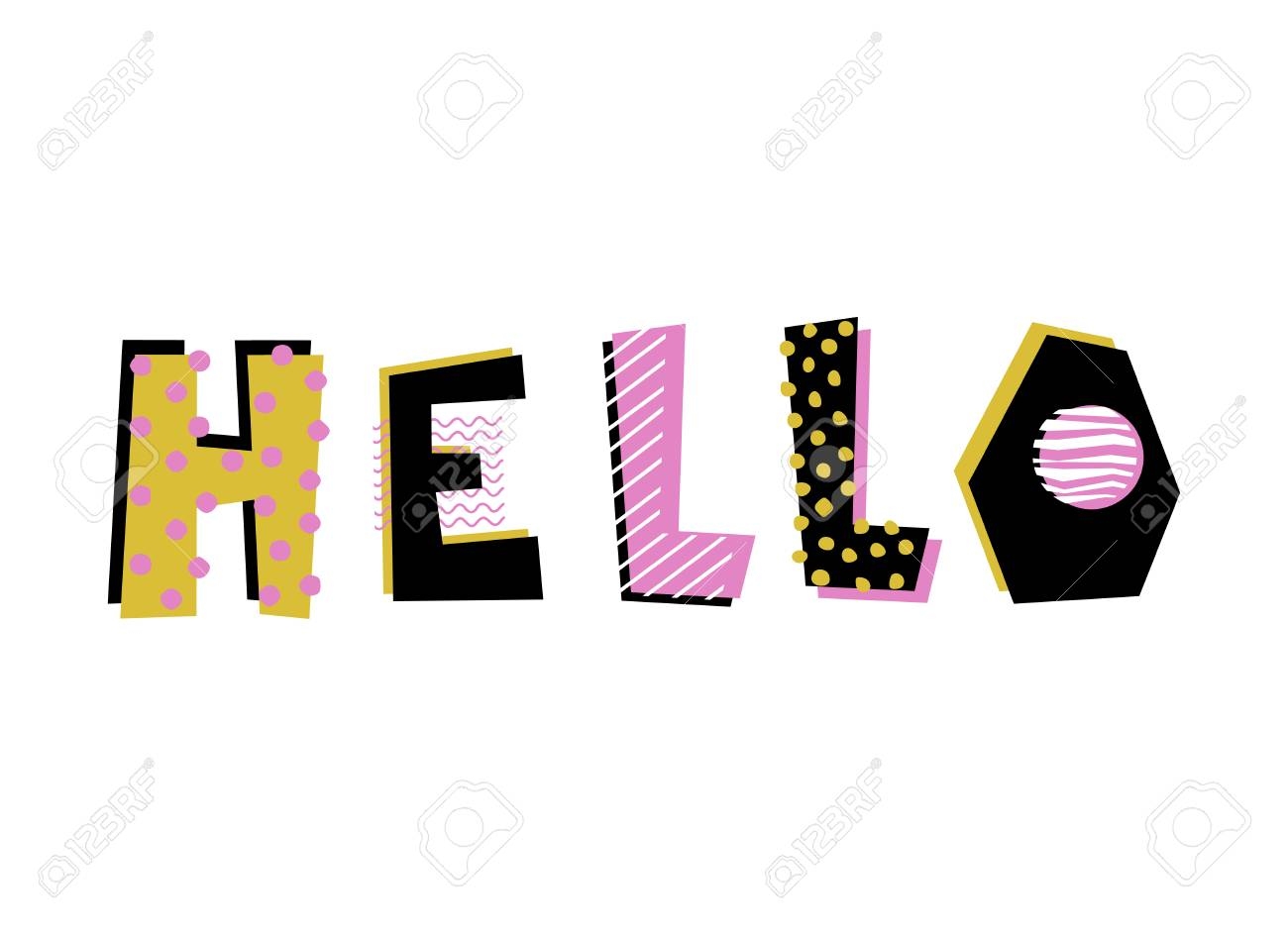 Hand Drawn Decorative Text Hello Design Element For Bag Print