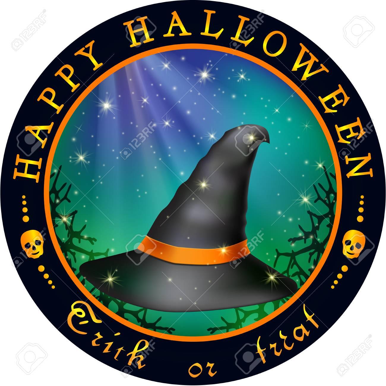 Vettoriale Disegno Rotondo Di Halloween Con Cappello Il Cappello