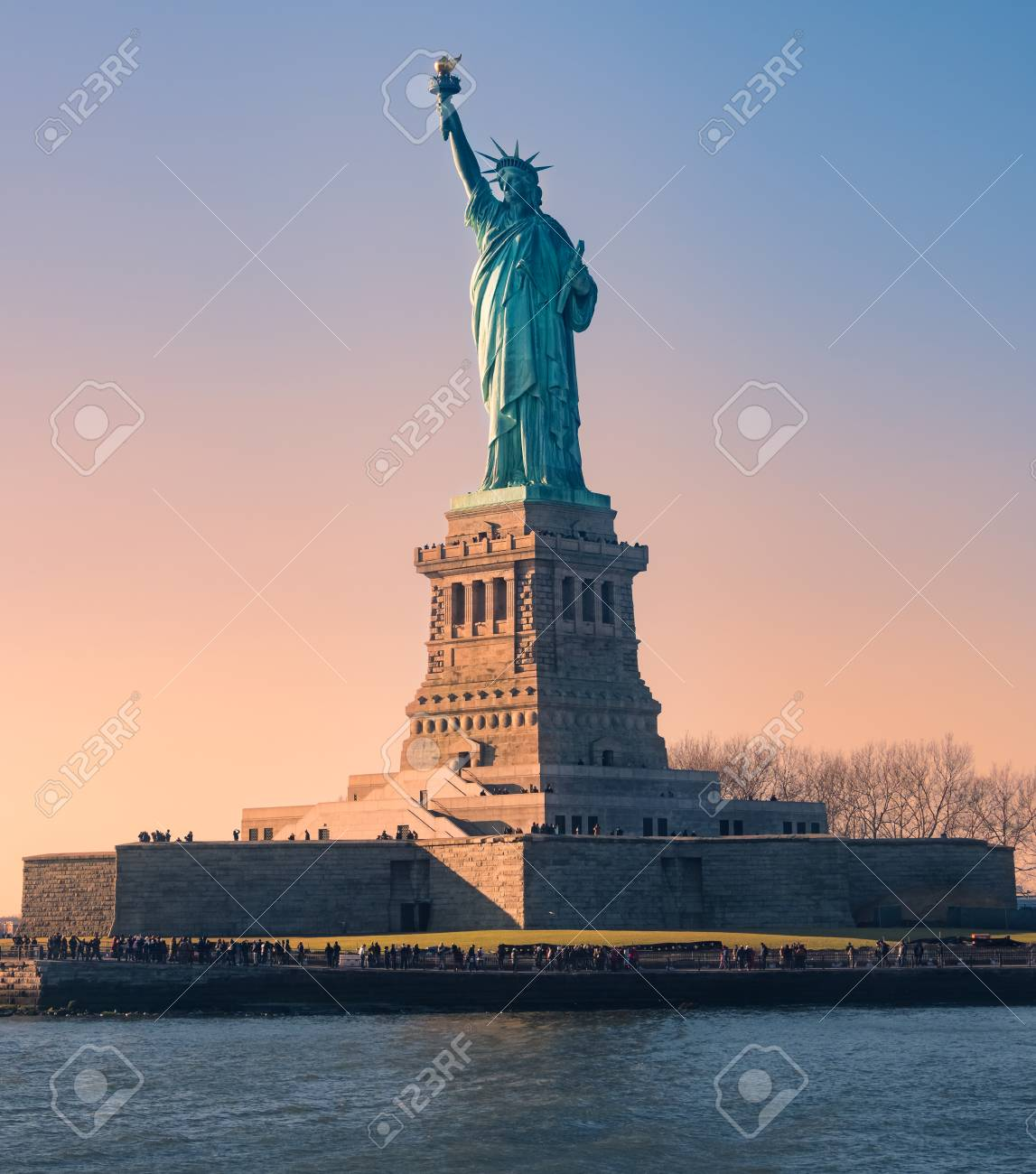 Statue of Liberty at sunset in Christmas, New York, USA - 105038727