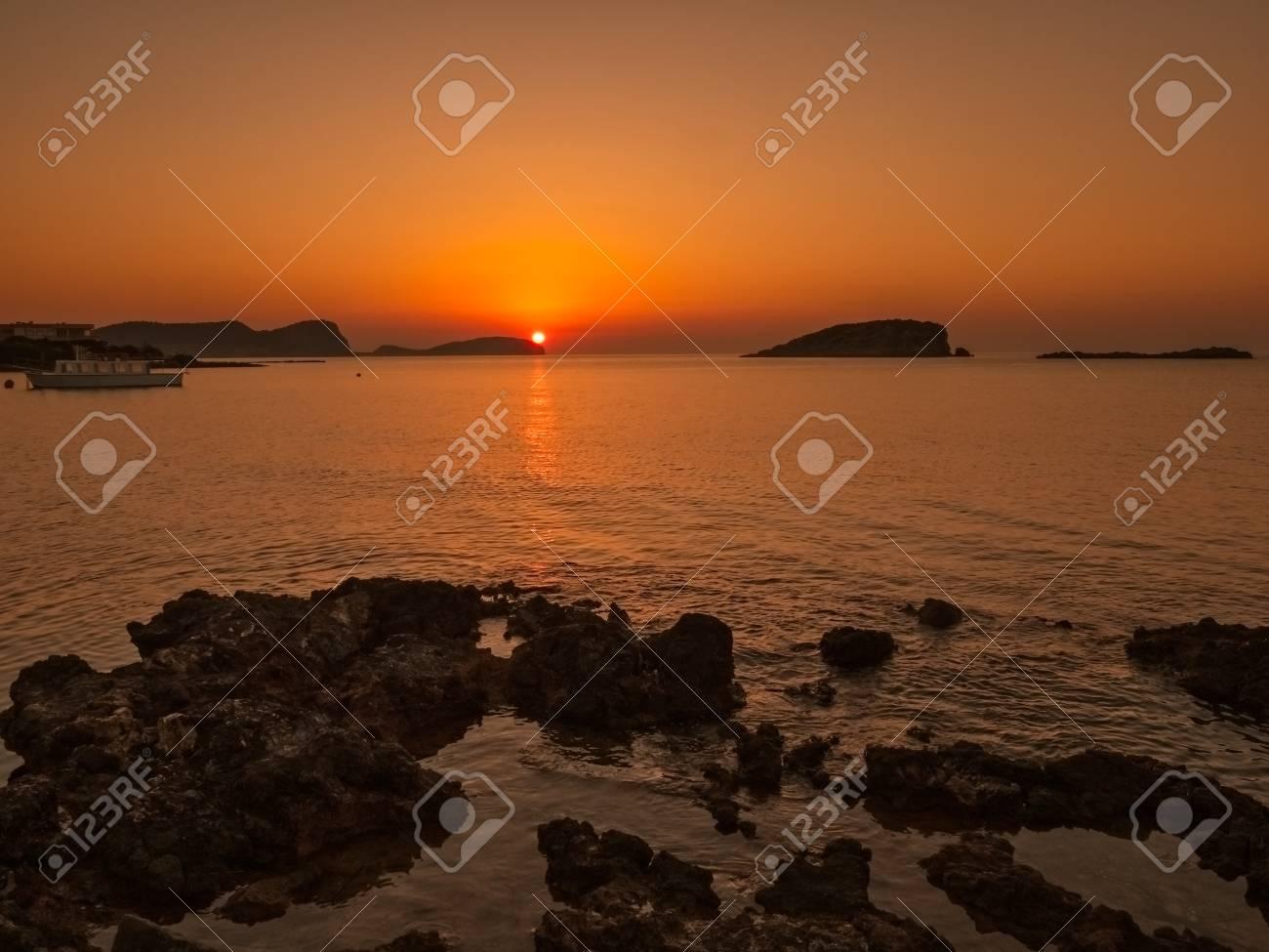 sunrise in Es Canar, Ibiza, Spain - 105038733