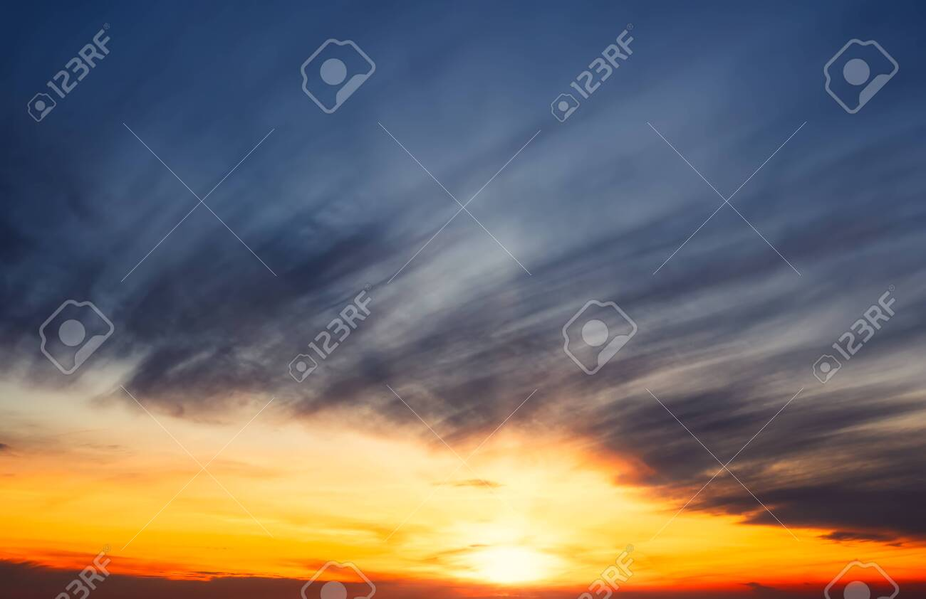 Winter sky at sunset in Madrid,Spain. Orange and blue colors - 138669714
