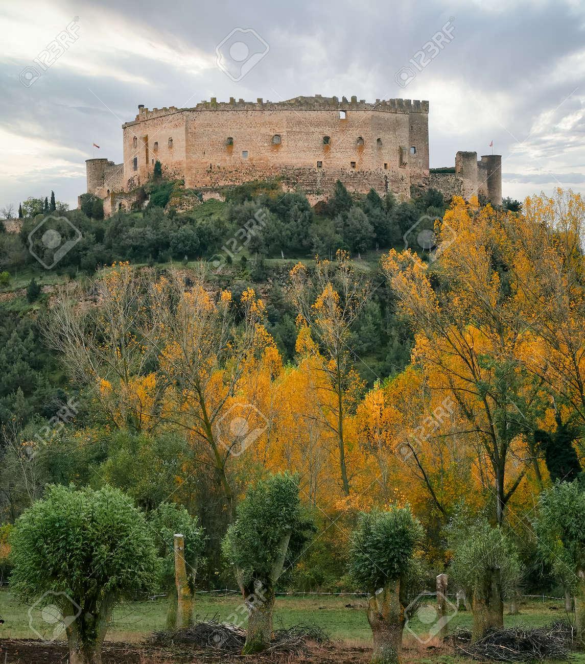 view of Pedraza castle in winter, Segovia, Castilla y Leon, Spain - 156569864