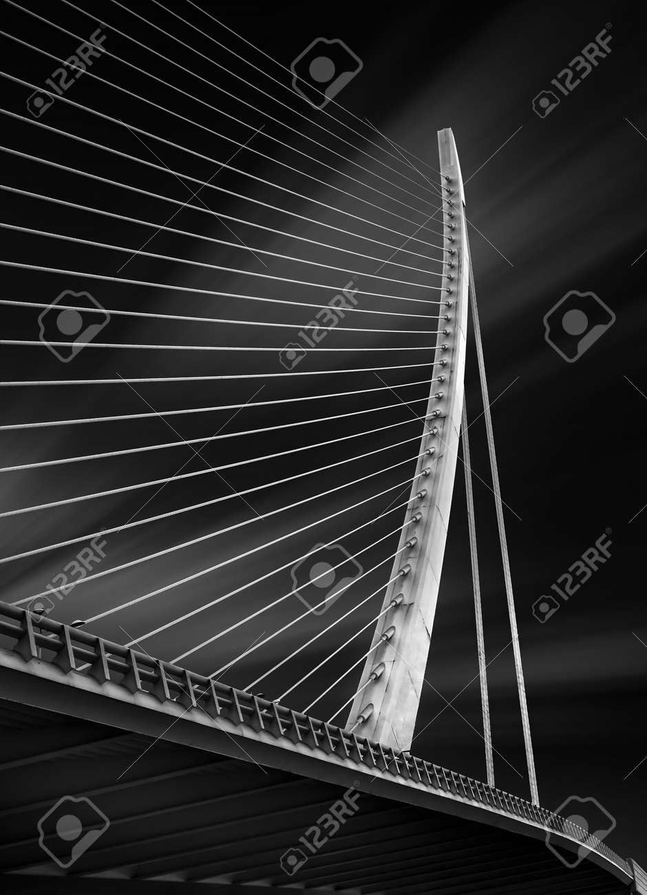 Fine art black and white photography of the structure of a modern bridg in Spain - 156485197