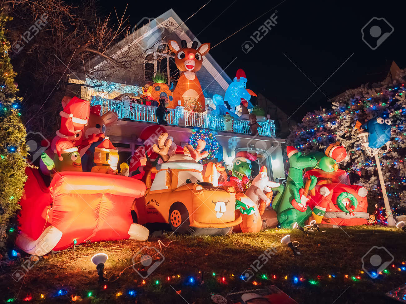 New York, USA, December 27, 2017. famous giant christmas decorations of houses in the neighborhood of dyker heights, in Brooklyn - 160493137