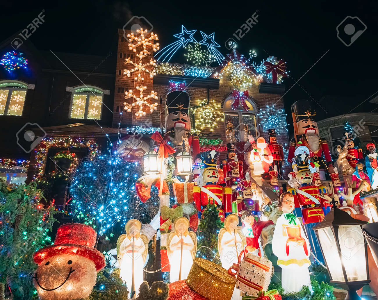 New York, USA, December 27, 2017. famous giant christmas decorations of houses in the neighborhood of dyker heights, in Brooklyn - 160493141
