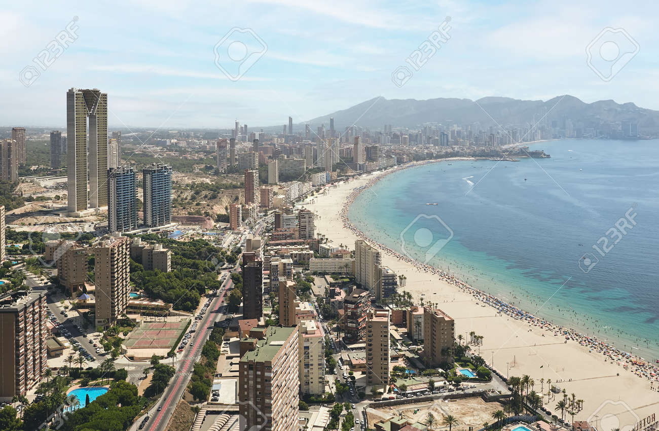 panoramic aerial view of the skyscrapers of the city of Benidorm, Alicante, Spain and the beach of poniente - 170816865