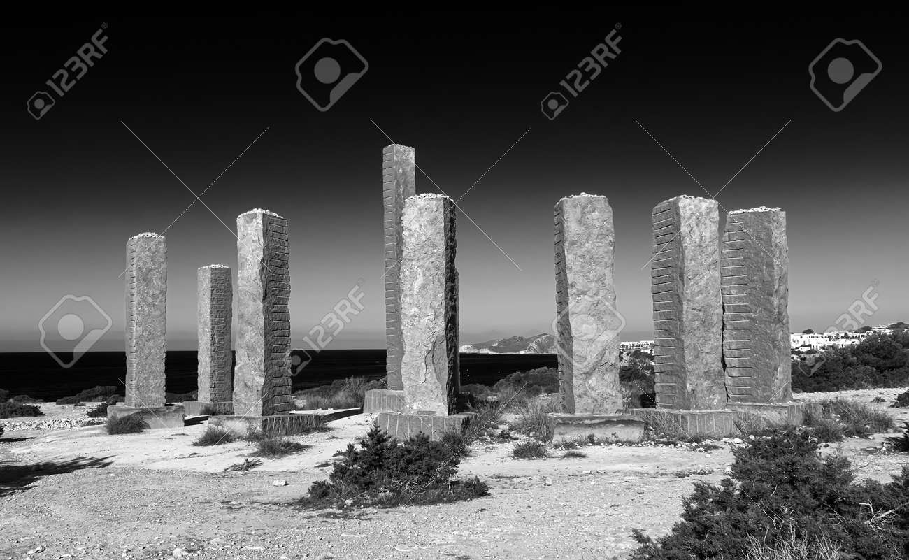 beautiful landscape and monument in cala llentia, Ibiza, Spain.black and white photography - 170816873