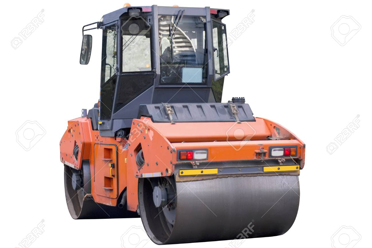 Heavy vibration roller compactor or road roller for building new road, compacting asphalt, isolated on white. Road construction, asphalt pavement works, renewal process - 119209817