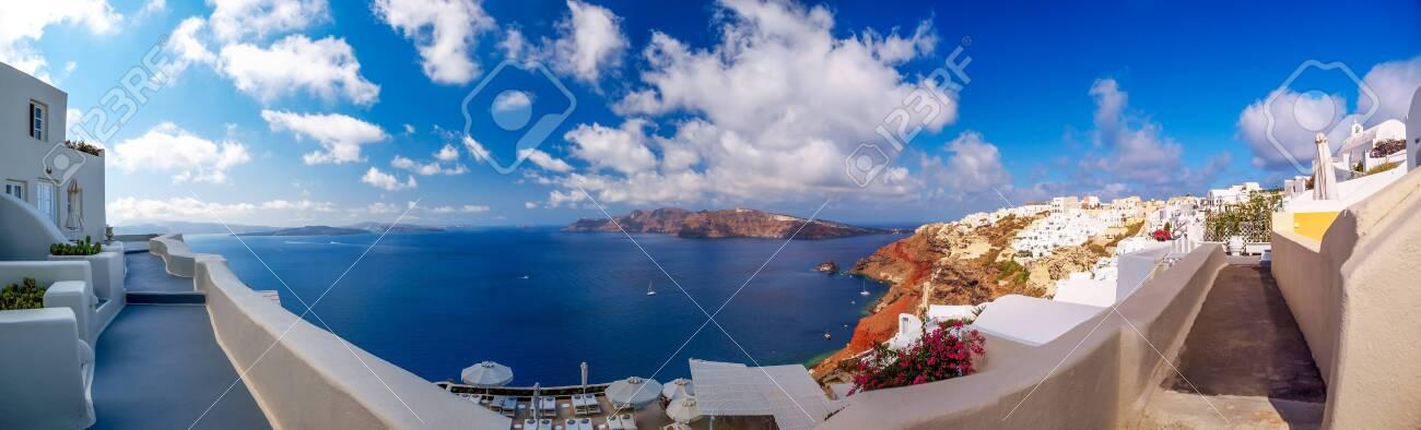 Amazing panorama Santorini island view. Beautiful white cave houses. Santorini, Cyclades, Greece - 147978918