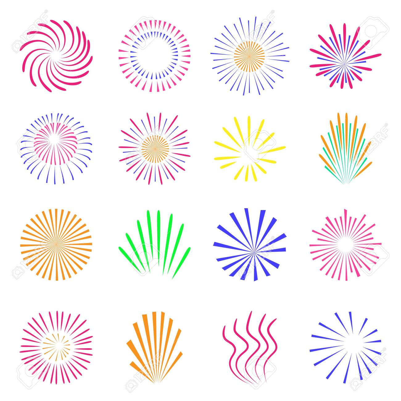 Holiday and party firework icons collection. Vector illustration - 147849494