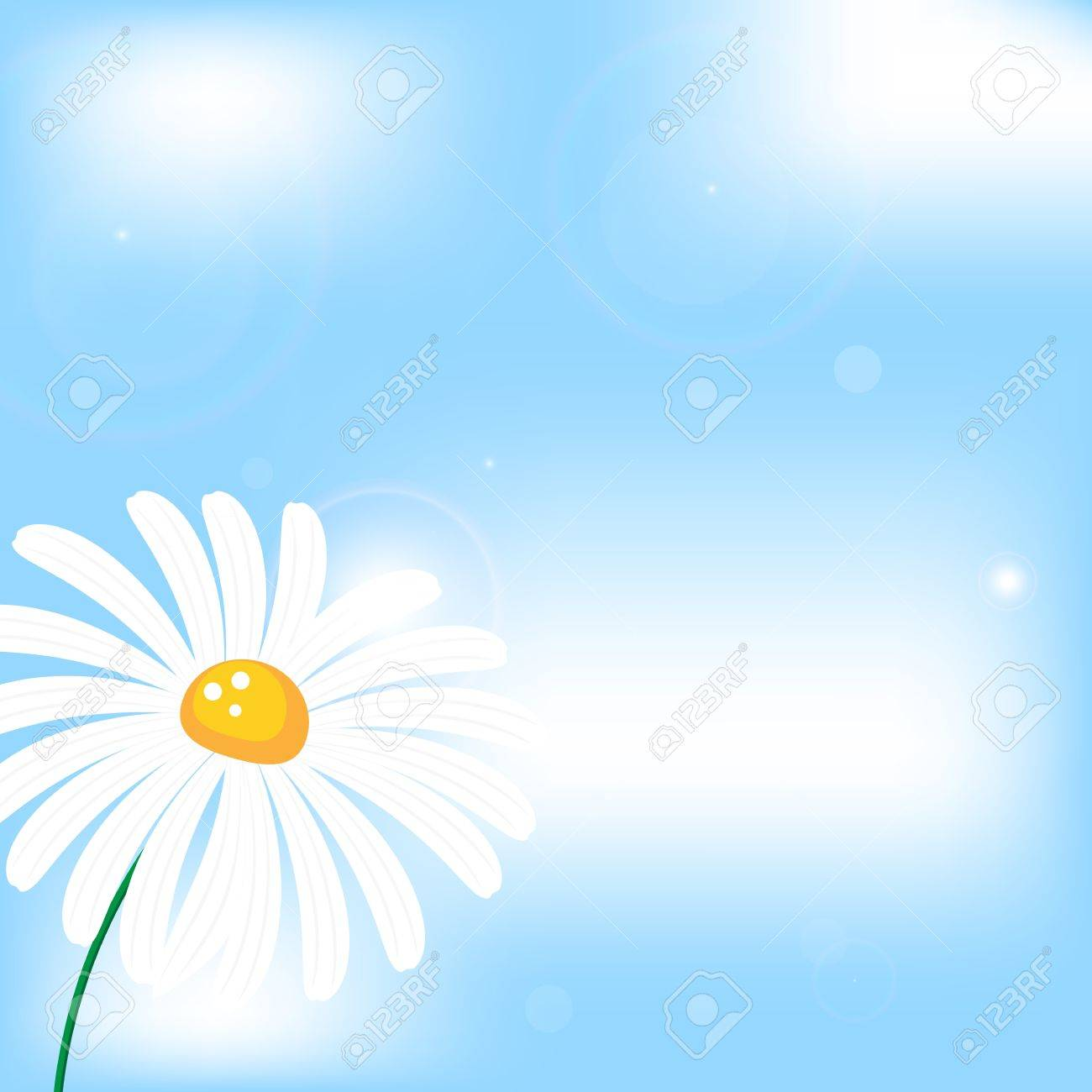 abstract vector background with camomile flower in sunshine, sky and clouds Stock Vector - 18301291