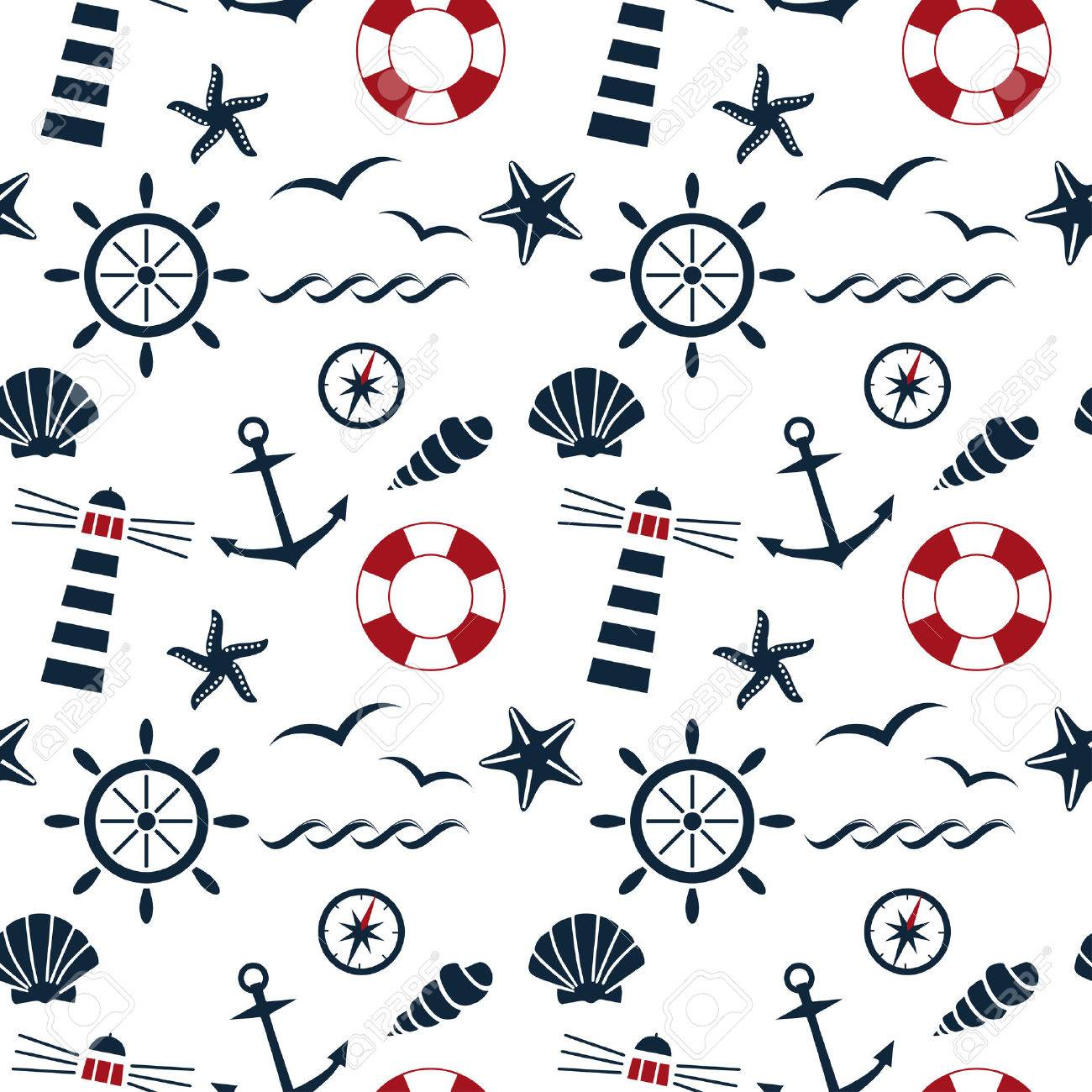 nautical seamless pattern on the white background vector - 27382765