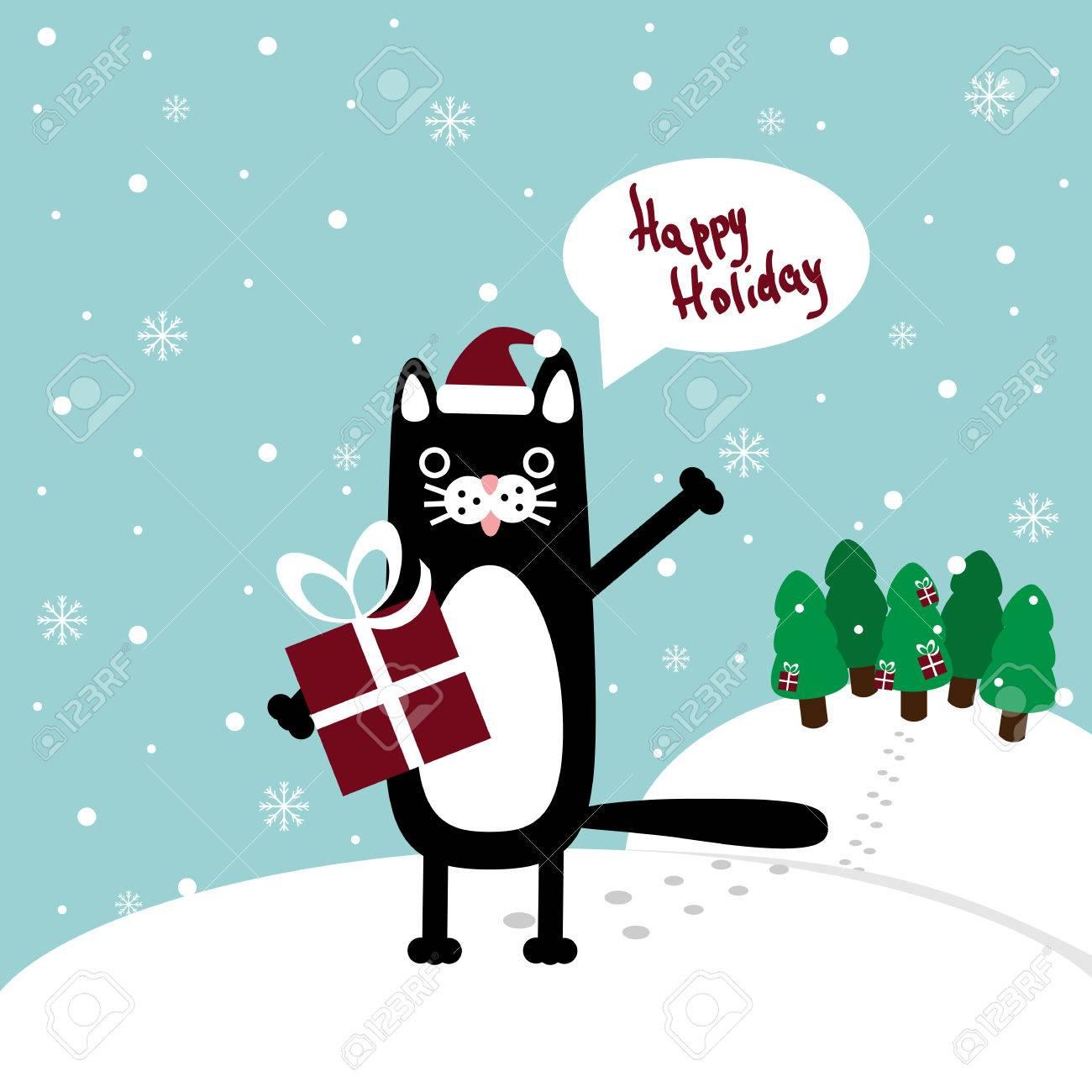 christmas card cartoon cat in santa hat present and vector christmas card cartoon cat in santa hat present and place for greetings vector template