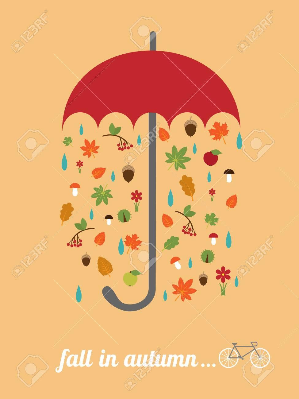Vektor-Karte-Vorlage Mit Roten Regenschirm, Fallende Blätter, Retro ...