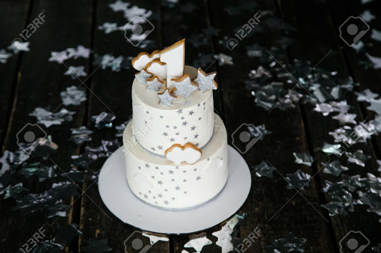Incredible First Birthday White Cake With Stars And One Candle For Little Personalised Birthday Cards Cominlily Jamesorg