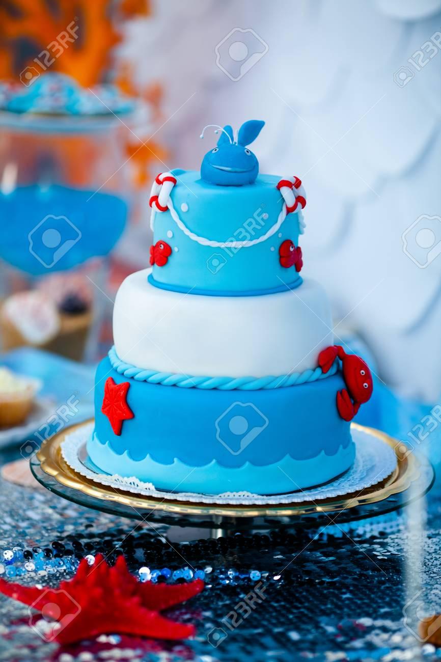 Surprising Huge Blue And White Birthday Cake With Sweet Crab Fish Starfish Personalised Birthday Cards Akebfashionlily Jamesorg