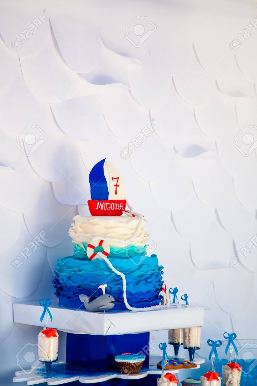 Awesome Huge Blue Birthday Cake With Sweet Whale And Lifebuoy And Funny Funny Birthday Cards Online Inifofree Goldxyz