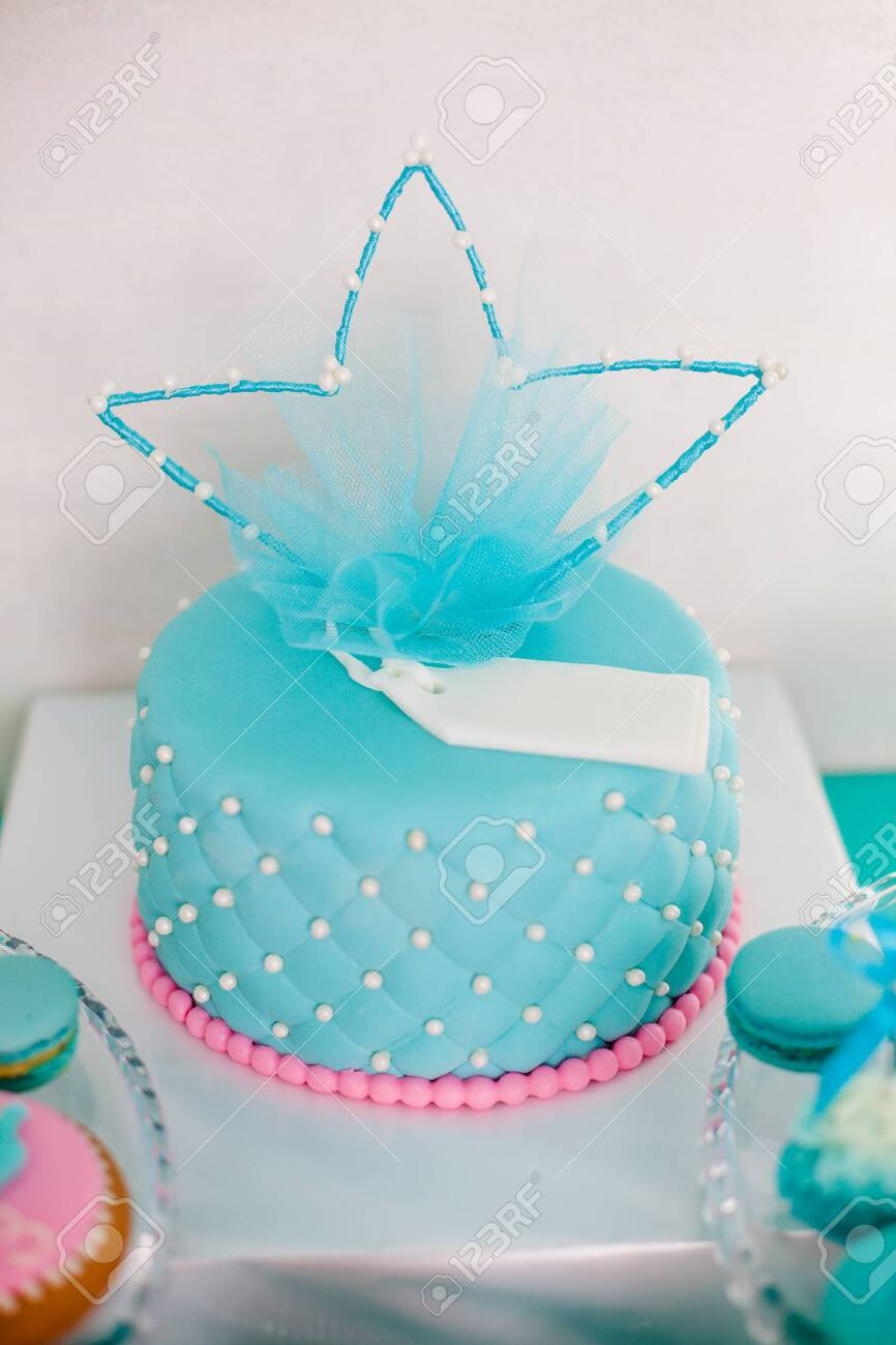 Awesome Blue And Pink Birthday Cake With Pearls Big Crown For Little Funny Birthday Cards Online Elaedamsfinfo