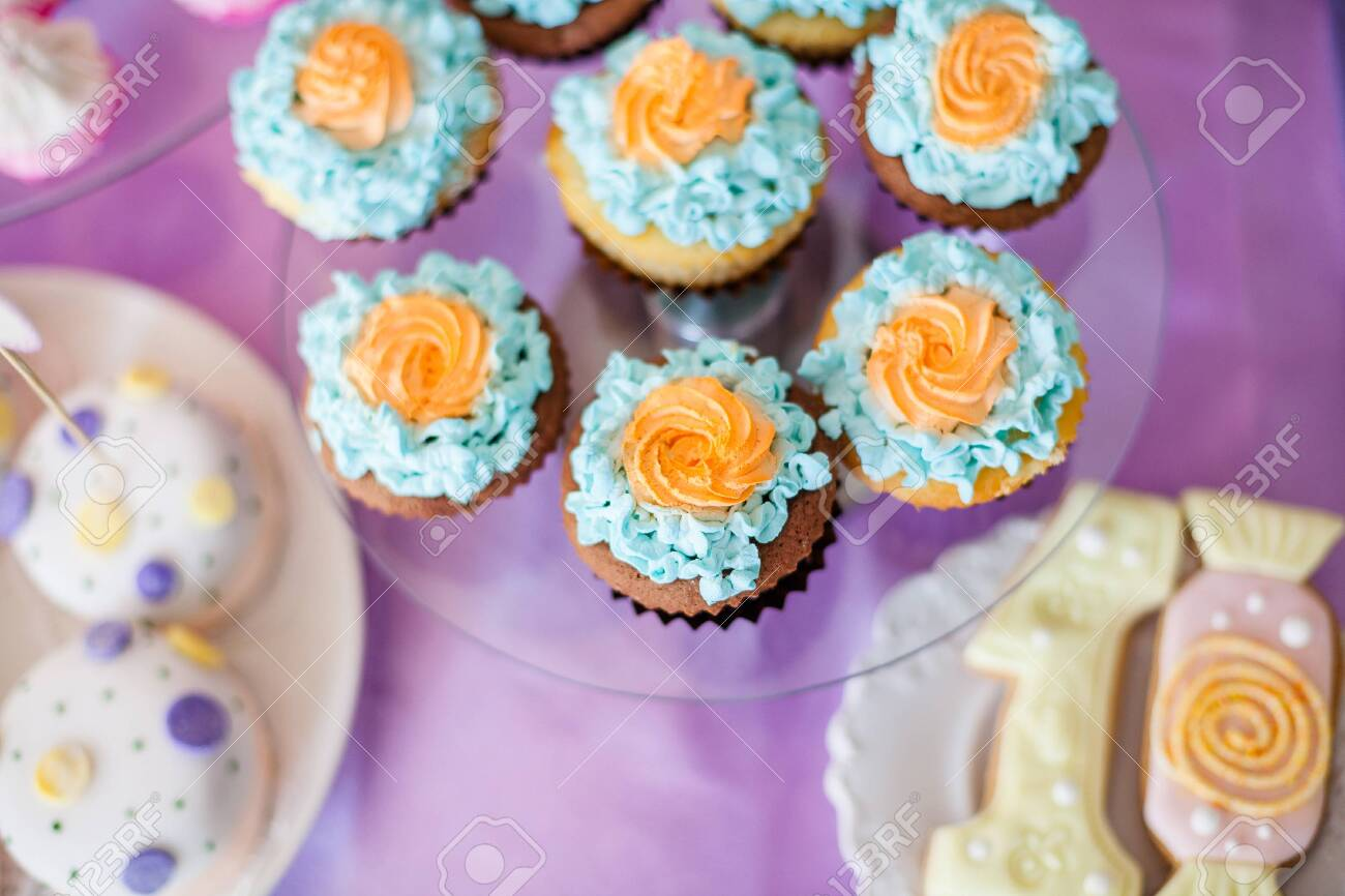Birthday Party Concept Table For Kids With Cupcakes With Blue