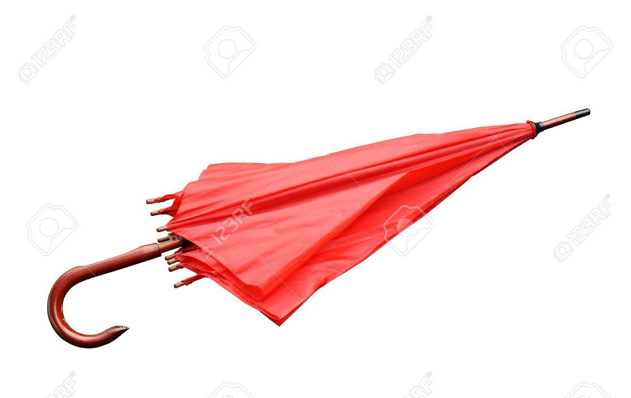 red umbrella closed isolated on a white background Stock Photo - 9082761